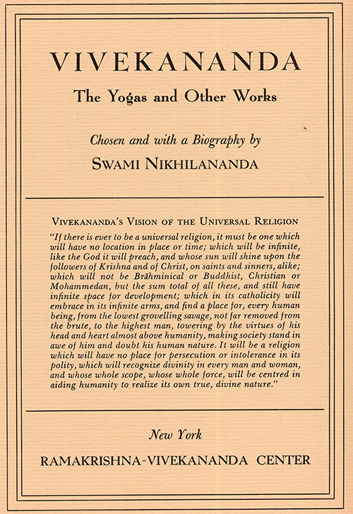 Vivekananda: Yogas and Other Works cover