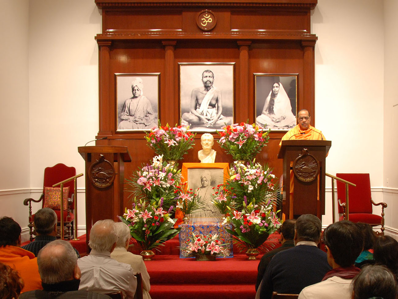 altar decorated for Swami Vivekananda's birthday celebration